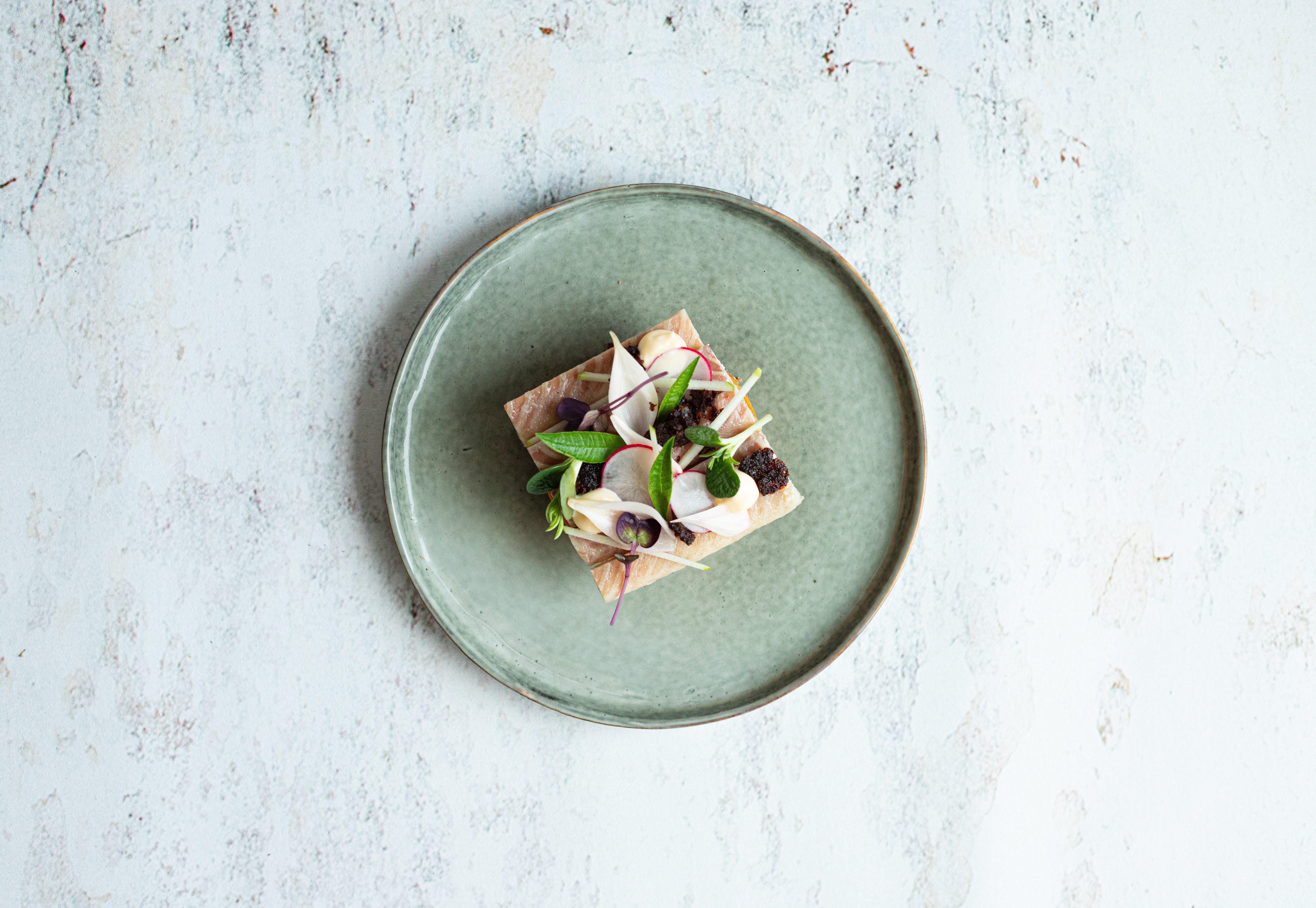 Huisgerookte paling met crémeux van butternut