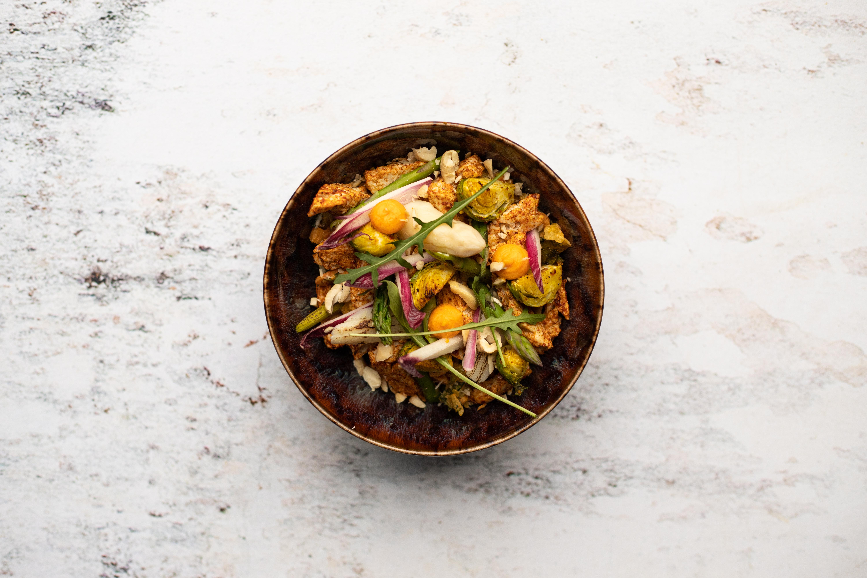 Tandoori greens met gepofte groenten en No chicken (vegetarisch)